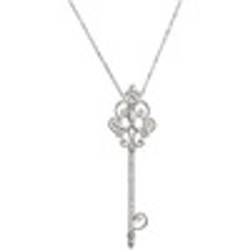 Louis XIV Baroque C Scroll - Bespoke Key Pendant Necklace - Colorless, Hearts and Arrows Diamonds with Sterling Silver 3543