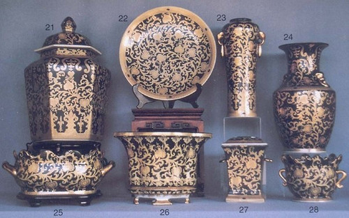 Ebony Black and Gold Lotus Scroll - Luxury Chinese Porcelain Styles - 12aA small grouping of LCP Styles - 12a