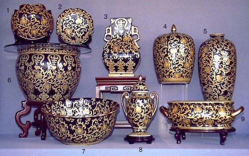 Ebony Black and Gold Lotus Scroll - Luxury Chinese Porcelain Styles - 11aA small grouping of LCP Styles - 11a