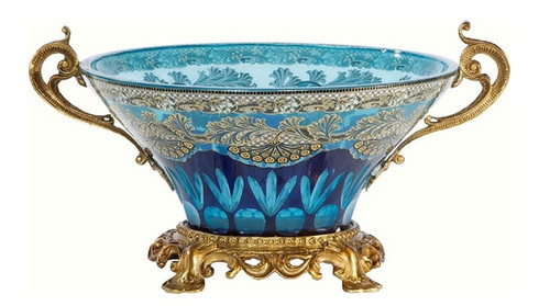 A Luxe Life Finely Finished Cut Crystal Glass and Gilt Bronze Ormolu, 11 Inch Dish Centerpiece Bowl 6844 ME - Cut Glass Centerpiece Bowl