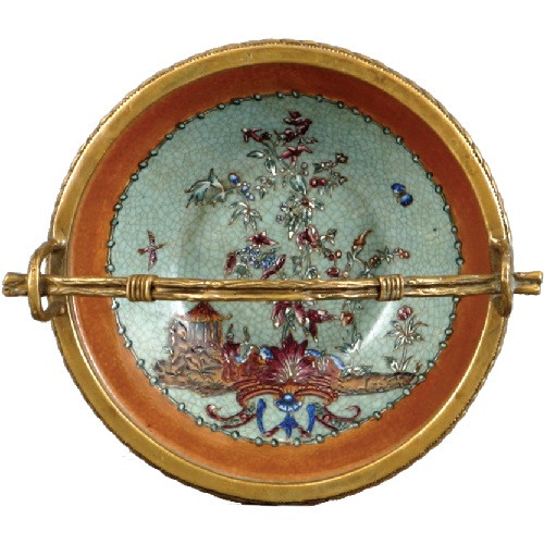 Fantasia Pattern - Luxury Hand Painted Chinese Porcelain and Gilt Brass Ormolu - 4t X 7w X 6dia. Decorative Basket Dish