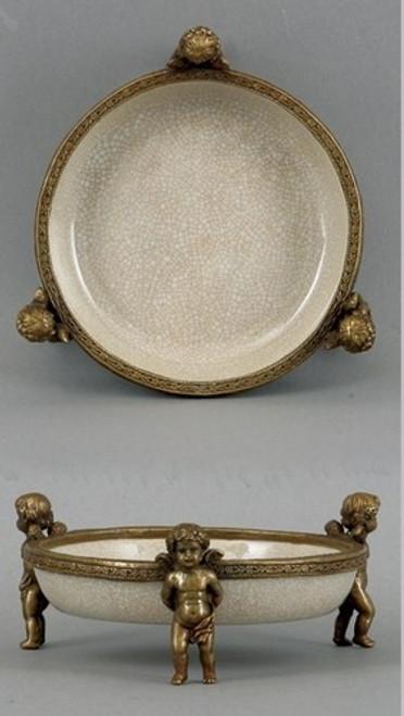 White Crackle Pattern, Luxury Hand Painted Porcelain and Gilt Bronze Ormolu, Pair of 5 inch Cherub Coaster, Coaster Set