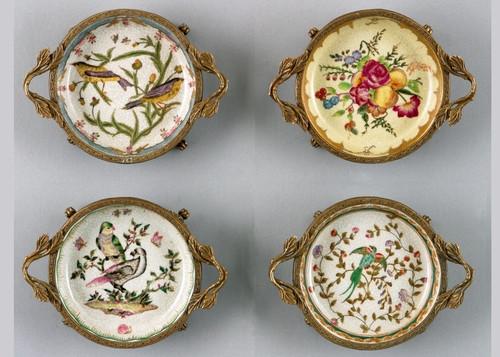 Coasters | Group V, Luxury Hand Painted Porcelain and Gilt Bronze Ormolu, Set of Four