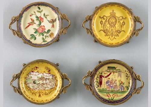 Coasters | Group III, Luxury Hand Painted Porcelain and Gilt Bronze Ormolu, Set of Four
