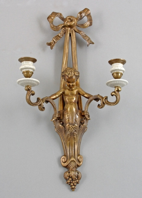 White Crackle Pattern, Luxury Hand Painted Porcelain and Gilt Bronze Ormolu, 12.5 Inch Taper Candle Holder Sconce   Girandole
