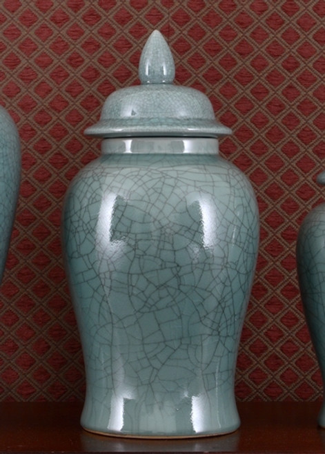 Celadon, Luxury Hand Painted Porcelain, 18 Inch Temple Jar
