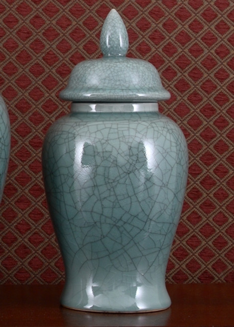 Celadon, Luxury Hand Painted Porcelain, 16 Inch Temple Jar