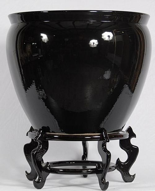 Ebony Black Decorator Solid - Luxury Handmade Chinese Porcelain - 16 Inch Fish Bowl | Planter Style 35