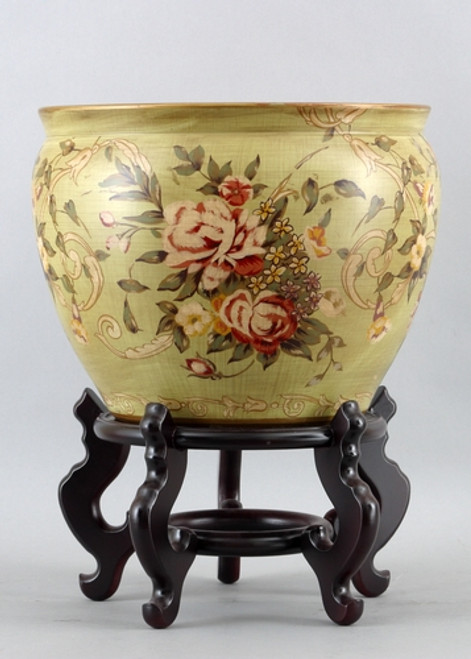 Coming up Roses Pattern, Luxury Hand Painted Porcelain, 16 Inch Fish Bowl | Planter