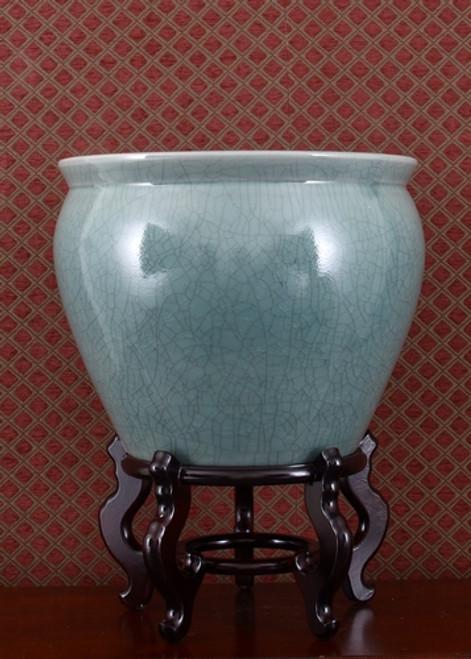 Celadon Decorator Crackle - Luxury Handmade Chinese Porcelain - 16 Inch Fish Bowl   Planter   Table Base - Style 35