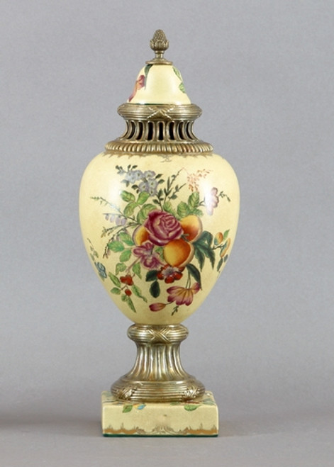 Flowers in Bloom Pattern, Luxury Hand Painted Porcelain and Gilt Bronze Ormolu, 18 Inch Covered Urn