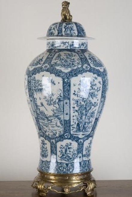 Classic Blue and White Pattern, Luxury Hand Painted Porcelain and Gilt Bronze Ormolu, 30 Inch Covered Jar