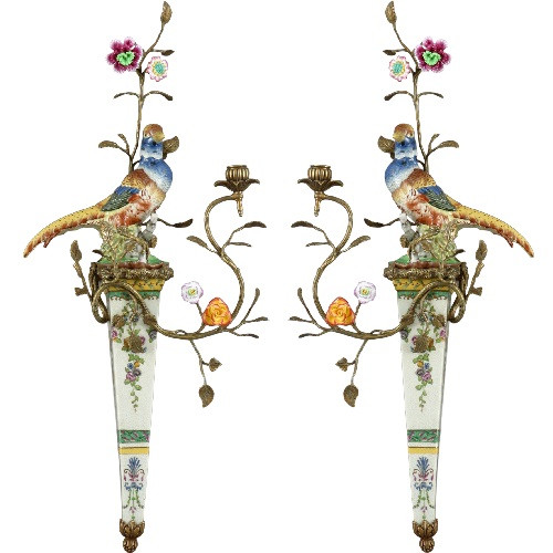 A Spring Gardens Pattern - Luxury Hand Made Chinese Porcelain and Gilt Brass Ormolu - 30 Inch Taper Candle Holder Set, Wall Bracket Sconce Pair