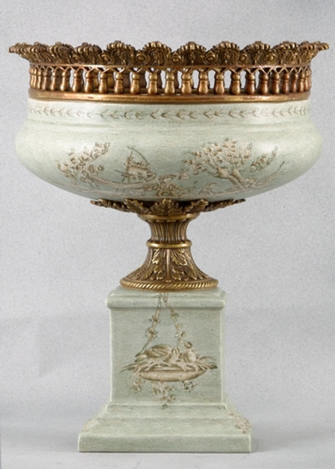 Celadon Toile Pattern, Luxury Hand Painted Porcelain and Gilt Bronze Ormolu, 14 Inch Pedestal Half Vase