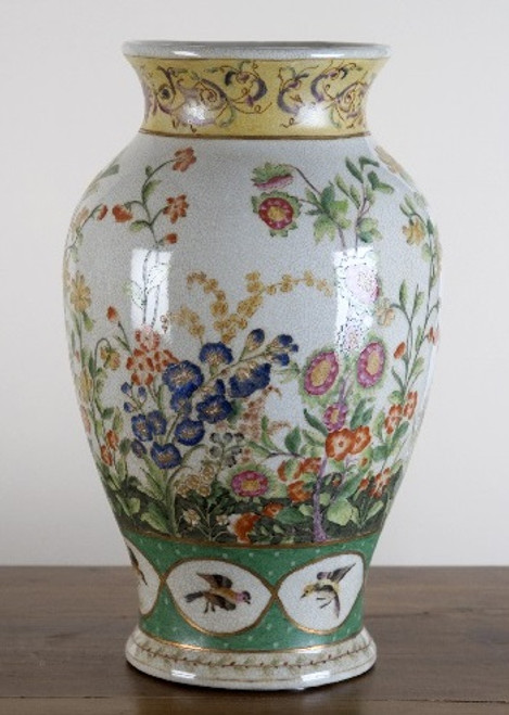 A Spring Gardens Pattern, Luxury Hand Made Chinese Porcelain, 14 Inch Display Vase