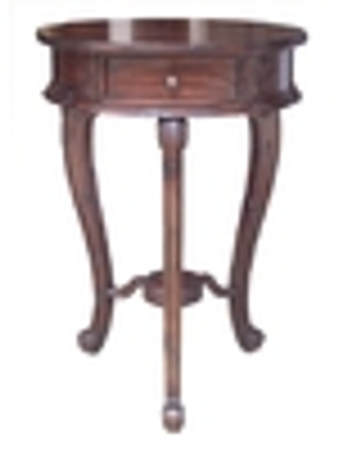 Custom Decorator - Round Hardwood 29.5 Inch Accent End | Lamp Table - Hand Carved