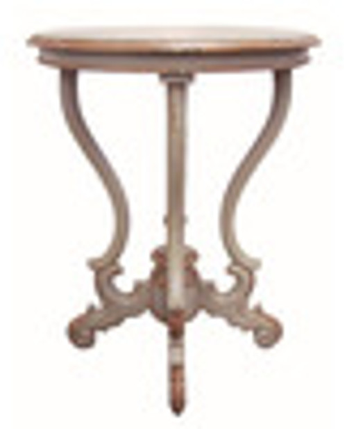 Custom Decorator - Round Hardwood 30.7 Inch Accent End | Lamp Table - Hand Carved