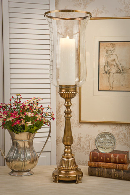 Brass, 30 Inch Footed Hurricane Lamp, Antique Brass Finish