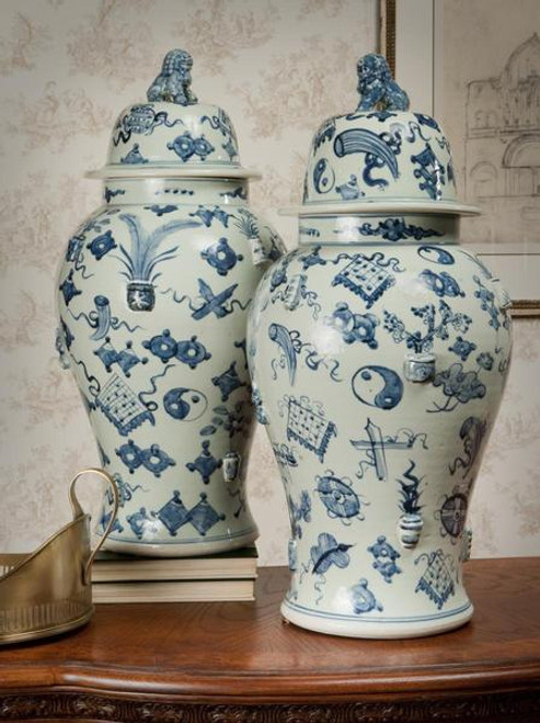 25 Inch Temple Jar, Blue and White Hand Painted Porcelain