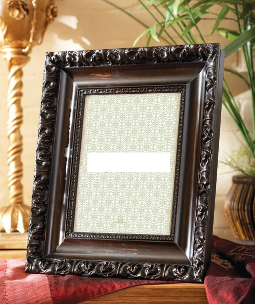 Louis XIV Wide Baroque Style 5 X 7 Photo Frame, Gold Frame with Linen Liner