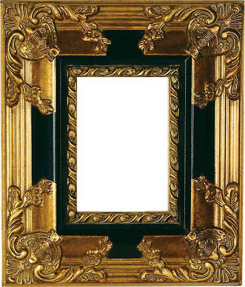 Black and Gold 5 x 7 Photo Frame, 13 Inch Scroll Design