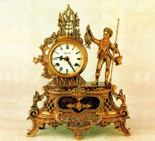 Fancy d'Oro Ormolu - Desk, Shelf, Mantel Clock - Choose Your Finish - Fishing, A Successful Catch - Handmade Reproduction of a 17th, 18th Century Dore Bronze Antique, 2595