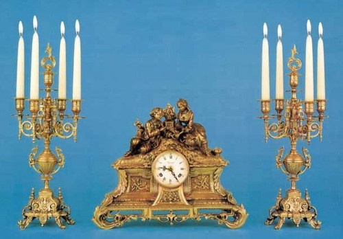 Antique Style French Louis Garniture, Gilt Brass Ormolu Mantel Clock And Five Light Candelabra Set, French Gold Finish, Handmade Reproduction of a 17th, 18th Century Dore Bronze Antique, 2588