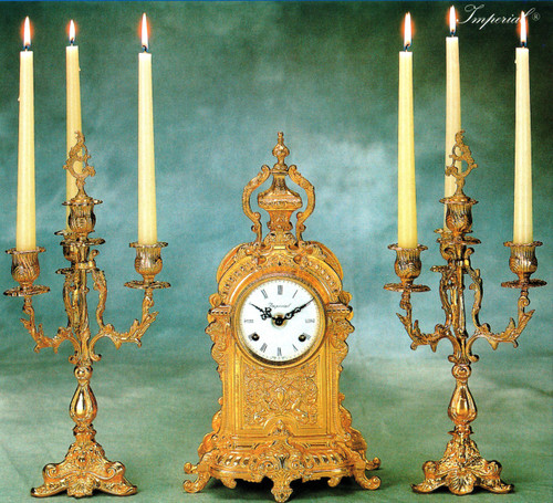 Antique Style French Louis Garniture, Gilt Brass Ormolu Mantel Clock And Four Light Candelabra Set, French Gold Finish, Handmade Reproduction of a 17th, 18th Century Dore Bronze Antique, 2584