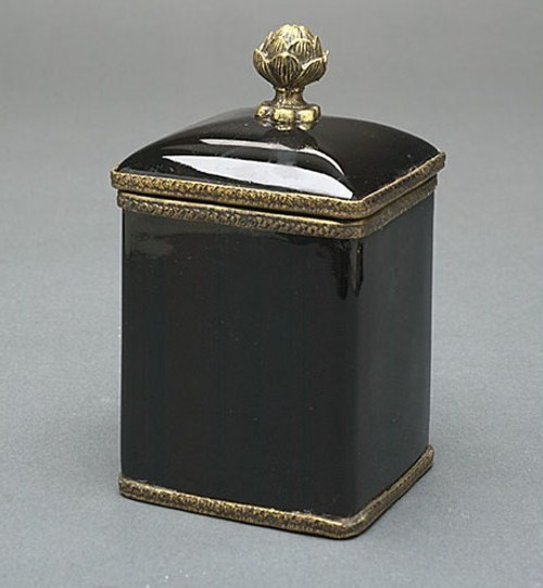 Luxe Life Glossy Black Finely Finished Porcelain and Gilt Bronze Ormolu, 6 Inch Square Decorative Box