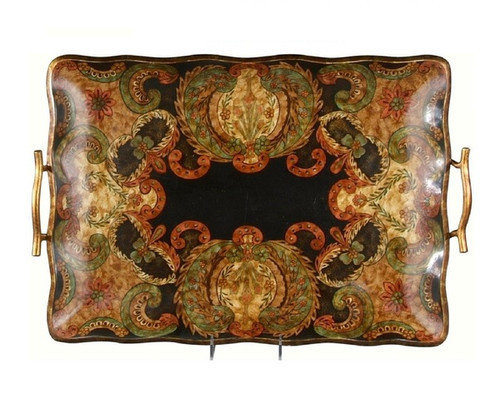 Luxe Life - Hand Painted, Decorative Wood Tray, Modern Paisley, Black Crackle Finish, Undulated Shape 24L X 16W
