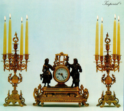 Antique Style French Louis Garniture, Gilt Brass Ormolu Mantel Clock And Five Light Candelabra Set, French Gold Finish, Handmade Reproduction of a 17th, 18th Century Dore Bronze Antique, 2549