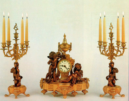 Antique Style French Louis Garniture, Gilt Brass Ormolu Mantel Clock And Five Light Candelabra Set, French Gold Finish, Handmade Reproduction of a 17th, 18th Century Dore Bronze Antique, 2543