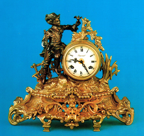 Handmade in Italy - Imperial Fancy d'Oro Ormolu - Desk, Shelf, Mantel, Italian Made Clock - Choose Your Finish - 13.77t x 15.74w x 5.51d