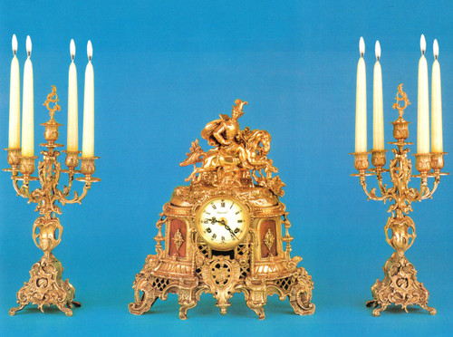 "Antique Style French Louis Garniture, Gilt Brass Ormolu Mantel Clock and 19.29"" Five Arm Candelabra Set, French Gold Finish, Handmade Reproduction of a 17th, 18th Century Dore Bronze Antique, 2518"