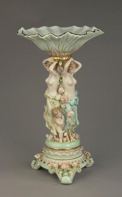 Meissen Style Tabletop, 18t X 10.5w X 10.5d Porcelain Pedestal Bowl