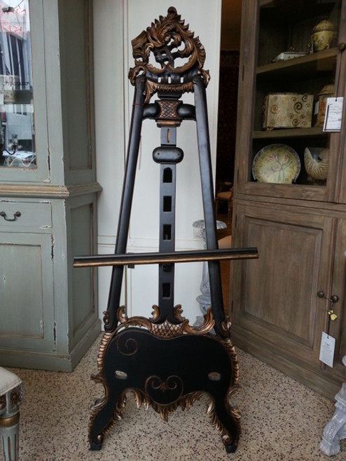 A Custom Decorator, Hand Carved Hardwood French Rococo, Louis XV 66.9 Inch Easel, Black with Gold Accents