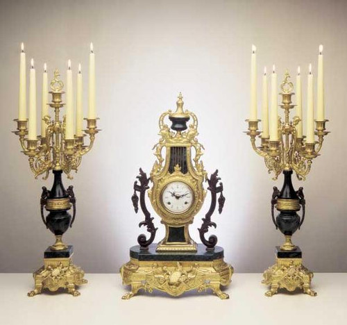 Antique Style French Louis Garniture, Gilt Brass Ormolu Nero Marquina Italian Marble Mantel Clock and Candelabra, Handmade Reproduction of a 17th, 18th Century Dore Bronze Antique, 2427