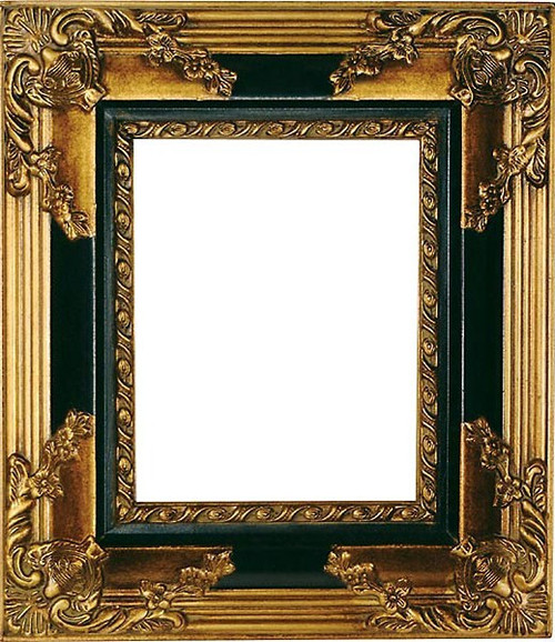 Black and Gold 8 x 10 Photo Frame, 16 Inch Scroll Design