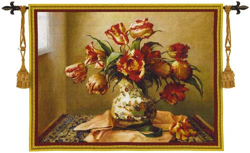 Lounging Tulips - North American Hand Woven Tapestry