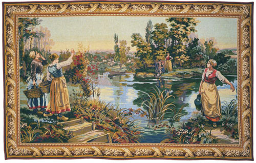 Maidens washing by the Lake - French Hand Woven Tapestry