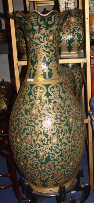 Jewel Green and Gold Lotus Scroll - Luxury Handmade Reproduction Chinese Porcelain - 36 Inch Palace Vase | Jardiniere Style C63