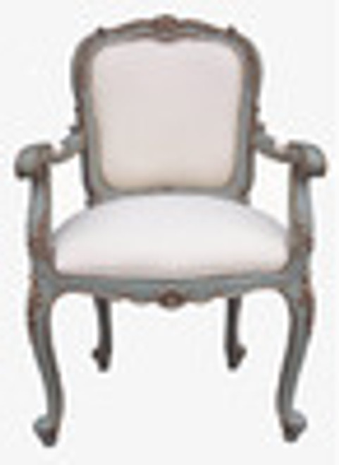 Custom Decorator - Hand Carved Mahogany 41.3 Inch Fauteuil Accent   Arm Chair - Upholstered Back and Seat