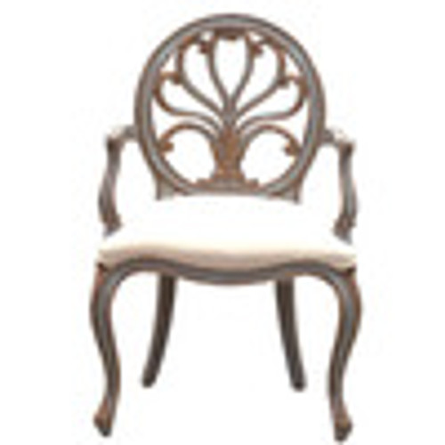 Custom Decorator - Hardwood Hand Carved Round Back 40.6 Inch Accent Arm Chair - Upholstered Seat