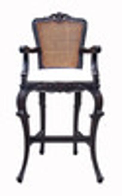 Custom Decorator - Hand Carved Wood 52.8 Inch Bar Stool - Cane Back & Upholstered Seat