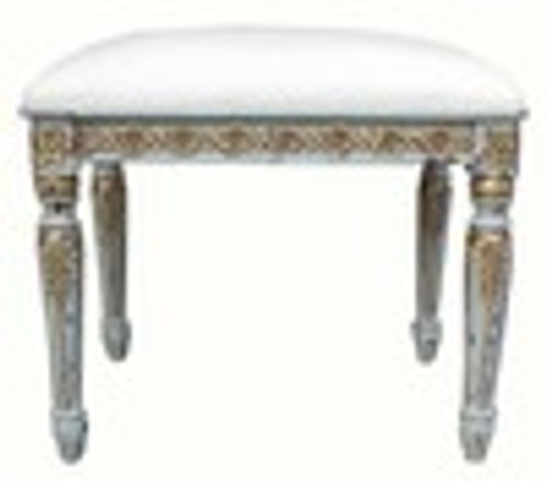 Custom Decorator - Rectangular Carved Wood Stool 16.5 Inch - Upholstered Seat