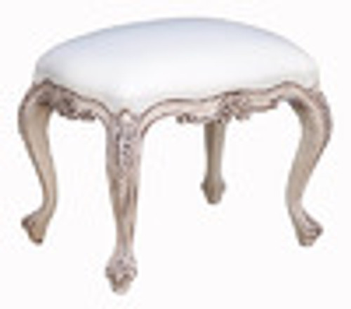Custom Decorator - Rectangular Carved Wood Stool 18.5 Inch - Upholstered Seat