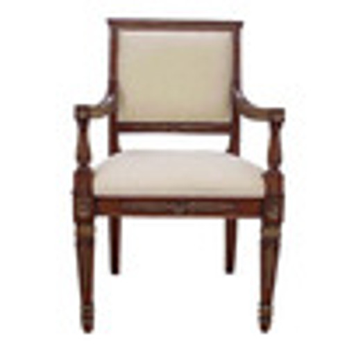 Custom Decorator - Hardwood Hand Carved Reproduction Neo Classical Louis XVI Fauteuil 39.4 Inch Accent   Arm Chair - Upholstered Back and Seat