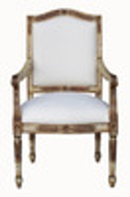 Custom Decorator - Hardwood Hand Carved Reproduction Neo Classical Louis XVI Fauteuil - 41.7 Inch Accent   Arm Chair - Upholstered Back and Seat