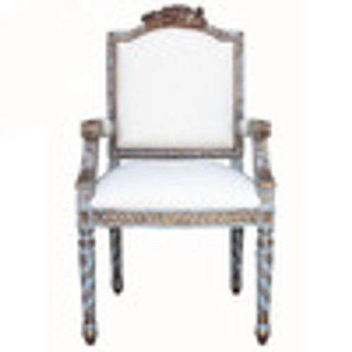 Custom Decorator - French Neo Classical 43 Inch Accent Arm Chair - Upholstered Back & Seat