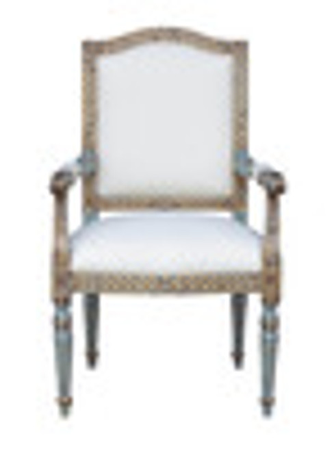 Custom Decorator - French Neo Classical 42.1 Inch Accent Arm Chair - Upholstered Back & Seat